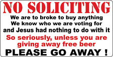 NO SOLICITING STICKER FUNNY DOOR KNOCKER STICKER NO HAWKERS BIBLE BASHERS SIGN