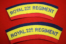 WW2 CANADA ROYAL 22ND REGIMENT CANADIAN CLOTH SHOULDER TITLE PAIR