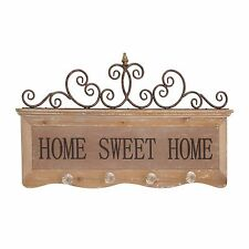 "31"" Metal/Wood Hooks ~Home Sweet Home~Rustic Distressed Sign Plaque Elegant"