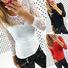 moda da donna a manica lunga Camicie casual in pizzo a uncinetto maglia