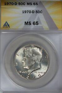 1970-D  .50  ANACS  MS 65  Kennedy Half Dollar, JFK Half, 50C, John Kennedy Half