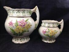 Vintage Haynes Baltimore Algerian Pitcher Pink & Yellow Daffodils Set of 2