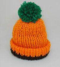 Pumpkin Orange fait main tricot bébé prématuré chapeau reborn doll tiny #Halloween