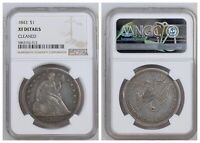 NGC U.S. Seated Liberty 1843 $1 One Silver Dollar XF