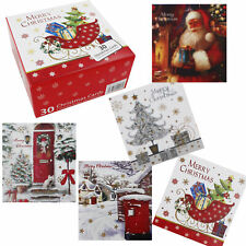 Bumper Box of 30 Christmas Cards 5 Traditional Designs with Envelopes