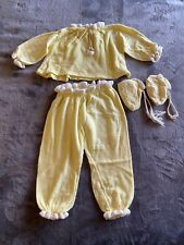 vintage 1950s Terry Cloth 3 Pc Baby Boy Outfit Yellow With Booties Sz 1 Rare!