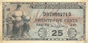 USA / MPC  25  Cents  1948  Series  481  Plate  65  Circulated banknote M7