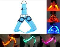 USB RECHARGEABLE CHEST HARNESS LED Pet Dog Glow Flashing Light-up Night Safety
