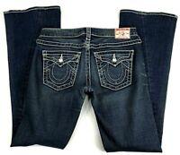 True Religion Disco Joey Big T Womens Size 29 Denim Blue Jeans Distressed Dark