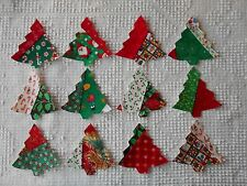 AC25 Iron On Sew On Appliques, Modern Quilt Blocks, Set of 12 Christmas Trees