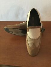 Pre Owned Salvatore Ferragamo Brown Tramezza Linen Suede Wing Tip Loafers 9.5EE