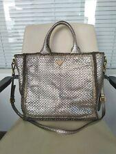100% Authentic PRADA Madras Shopping Tote Bag Woven Metallic Leather