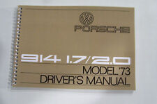 1973 Porsche 914 Owners Manual Service factory reprint maintenance adjustments