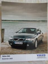 Volvo S60 press photo brochure Nov 2003