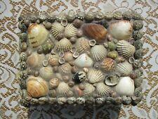 NICE Vintage 1940-1950's Folk Art Shell Covered Jewelry Trinket Box