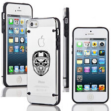 For iPhone SE 5 5s  6 6s 7 Plus Slim Clear TPU Hard Case Skull Motocross Helmet