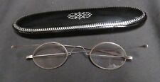 Vintage Victorian Bifocal Spectacles w/Black Lacquer Silver Inlay Case Wood Back