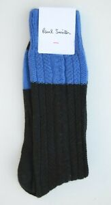 PAUL SMITH black blue cable knit wool cashmere socks MADE IN ITALY