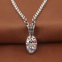 Solid 925 Sterling Thai Silver Pendant Skull Hand Zircon Inlay Men's Women's
