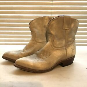 Frye gold Lustre Cowboy Western Ankle Boots Size 6
