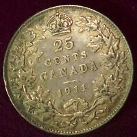 1911   CANADA  TWENTY FIVE CENTS (25 CENTS)
