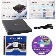 Pioneer BDR-XD05B External Blu-ray DVD Drive+100GB Verbatim MDisc BDXL+Cyberlink
