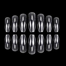 Squaletto Coffin Nail Tips 500 Pcs Fake Nails 10 Sizes Full Coverage Clear Box