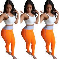 Fashion Women's Patchwork Side Zipper Bodycon Skinny Casual Long Pencil Pants