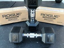 Rubber Hex Dumbbell - Rogue Fitness - 25 lb Pair - PROMPT SHIPPING GUARANTEED