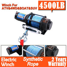 4500LB/2040kg Electric Winch 12V Synthetic Rope 2 Wireless Remotes ATV 4WD Boat