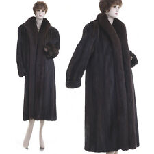 ON SALE! Mint! Large! Chocolate Brown Real Mink w/Fox Fur Tux Full-Length Coat
