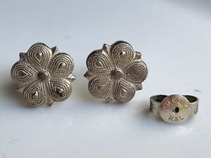 Vintage Kordes Litchenfel Sterling Silver Artdeco Flower Stud Earrings