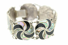 Mexican Signed AR Sterling silver Inlaid Abalone & Onyx Bracelet