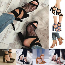 Womens Block Heel High Heels Sandals Pumps Buckle Lace Up T-Strap Shoes Heeled