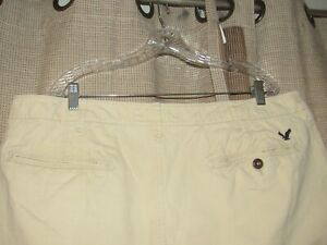 AMERICAN EAGLE sz 40 longboard shorts tan khaki flat front cotton excellent