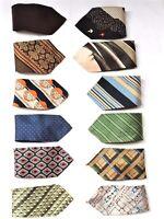 -  lot 12 cravates larges  en soie - vintage 1960's -