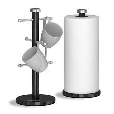 Morphy Richards Accents Nero 6 Tazza Mug ALBERO cucina Rullo Carta Asciugamano Pole Set