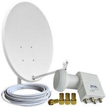 Digitale Sat-Anlage 60cm Spiegel LNB Quad 0,1dB 4-TV Direkt Full HDTV 3D 4K HD+