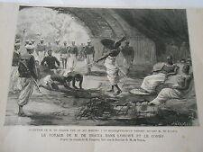 Africa Congo Roi Makoko et M. Brazza Antique Old Print 1882