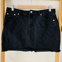 Seed Heritage Womens Black Wash Distressed Style Denim Mini Cotton Skirt Size 12