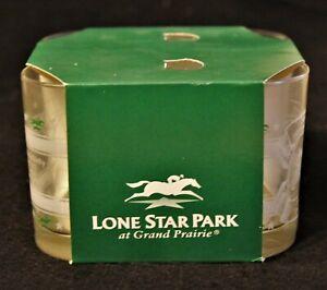 Lone Star Park Bar Glasses Secretariat Triple Crown Winner 4 Glass Set in Box