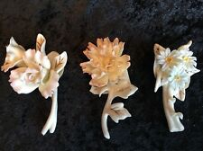 Lenox Set Of 3 Flower Pins / Broach Rose Peony Chrysanthemum NIB Spring Easter