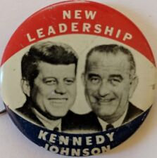 "1960 Kennedy Johnson Political Campaign Button ""New Leadership"" 1.5""  JFK LBJ"