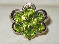 Beautiful TGGC 925 Sterling Silver Peridot Gemstone Cluster Ring
