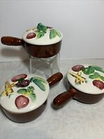 Adorable Vintage Lidded Soup Bowls Colorful Painted Vegetables Lids 3