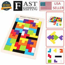 Educational Wooden Tetris Building Block Puzzle Tangram Jigsaw Brain Trainin Toy