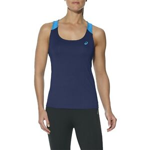 Asics Women's Tank Top Sports Styled Fitted Tank Top - Indigo Blue - New