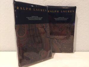 2 Ralph Lauren Frazier Olive European Euro Pillow Shams Black Brown Burgundy