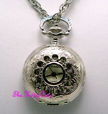 Miniature Collectors Silver Pl Vintage Pocket Half Hunter Pendant Necklace Watch