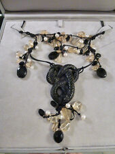 $2895 LALIQUE Black Serpent Snake Pendant quartz pearl onyx stones Necklace MIB